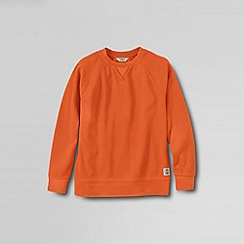 Lands' End - Orange boys' long sleeve pique crewneck sweatshirt