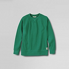 Lands' End - Green boys' long sleeve pique crewneck sweatshirt