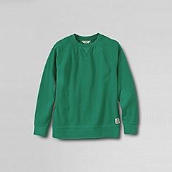 Lands' End - Green boys' long sleeve pique crewneck sweatshirt