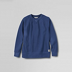 Lands' End - Blue boys' long sleeve pique crewneck sweatshirt