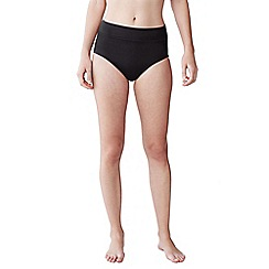 Lands' End - Black women's beach living high rise bikini bottoms - tummy control