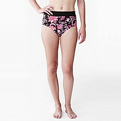 Lands' End - Multi women's floral beach living high rise bikini bottoms - tummy control