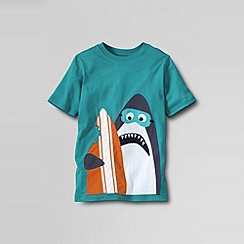 Lands' End - Blue boys' short sleeve applique; graphic tee