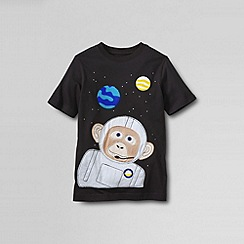 Lands' End - Black boys' short sleeve applique; graphic tee