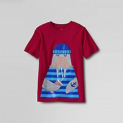 Lands' End - Red boys' short sleeve applique; graphic tee