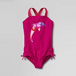 Lands' End - Pink girls' bohemian beach graphic swim suit