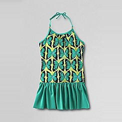 Lands' End - Multi girls' bohemian beach skirted swimsuit