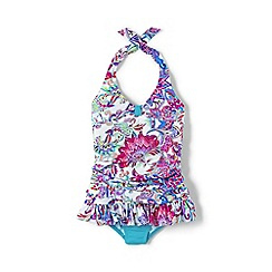 Lands' End - Blue girls' sea garden skirted swimsuit