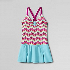 Lands' End - Pink little girls' colourblock smart swim skirted swimsuit