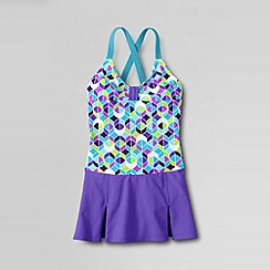 Lands' End - Blue girls' colourblock smart swim skirted swimsuit