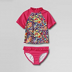 Lands' End - Pink little girls' bohemian beach rash guard set