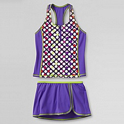 Lands' End - Purple girls' smart swim racerback tankini swimmini set