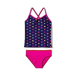Lands' End - Girls Toddler Purple smart swim v-neck patterned tankini set