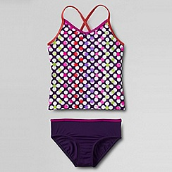 Lands' End - Purple little girls' smart swim v-neck patterned tankini set