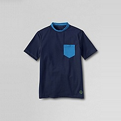 Lands' End - Blue little boys' short sleeve crew neck rash guard top