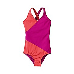 Lands' End - Pink girls' smart swim colourblock wrap swimsuit