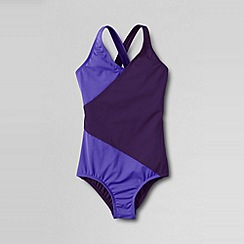 Lands' End - Purple little girls' smart swim colourblock wrap swimsuit