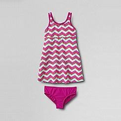 Lands' End - Pink girls' smart swim printed swim dress