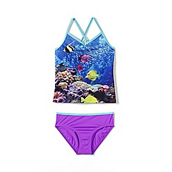Lands' End - Blue girls' smart swim v-neck graphic tankini set