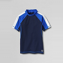Lands' End - Blue little boys' short sleeve colourblock rashguard top