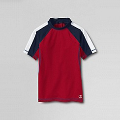 Lands' End - Red boys' short sleeve colourblock rashguard top