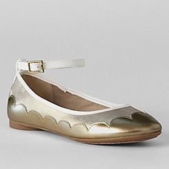 Lands' End - Gold girls' piper ankle strap ballet pumps