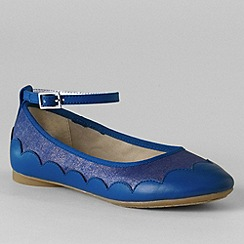 Lands' End - Blue girls' piper ankle strap ballet pumps