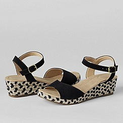 Lands' End - Black women's reese low wedge sandals