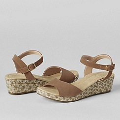 Lands' End - Beige women's reese low wedge sandals
