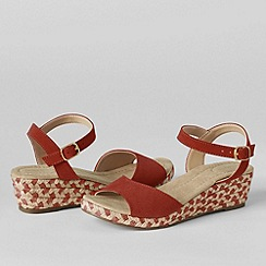 Lands' End - Red women's reese low wedge sandals