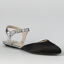 Lands' End - Black women's evelyn point toe flat shoes