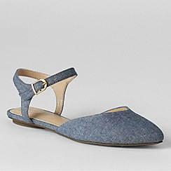 Lands' End - Blue women's evelyn point toe flat shoes