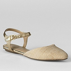 Lands' End - Beige women's evelyn point toe flat shoes