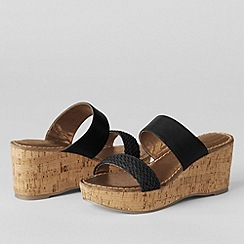 Lands' End - Black women's della mid-wedge slip on sandals