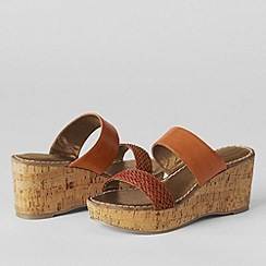 Lands' End - Brown women's della mid-wedge slip on sandals