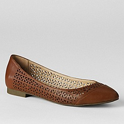 Lands' End - Brown women's irina perforated ballet pumps