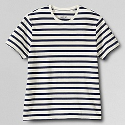 Lands' End - Cream men's slim fit short sleeve striped; crew neck t-shirt
