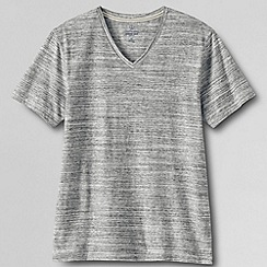 Lands' End - Grey men's slim fit; washed jersey v-neck t-shirt