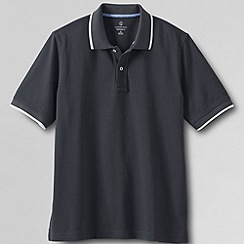 Lands' End - Grey men's short sleeve original pique polo shirt - novelty collar