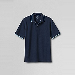 Lands' End - Blue men's short sleeve original pique polo shirt - novelty collar