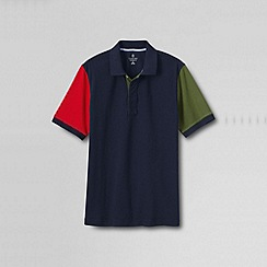 Lands' End - Blue men's short sleeve colourblock original pique polo