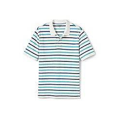 Lands' End - White short sleeve striped original pique polo