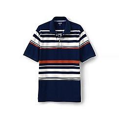 Lands' End - Blue short sleeve striped original pique polo