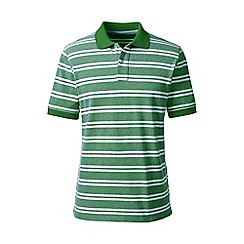 Lands' End - Green short sleeve striped original pique polo