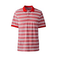 Lands' End - Red short sleeve striped original pique polo