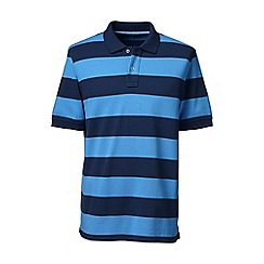 Lands' End - Blue short sleeve striped original pique polo