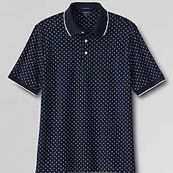 Lands' End - Blue men's short sleeve printed supima polo