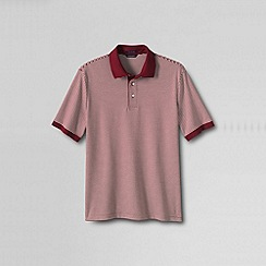 Lands' End - Red men's short sleeve stripe supima polo shirt