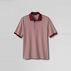 Lands' End - Red men's short sleeve stripe supima polo shirt