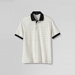Lands' End - Cream men's short sleeve textured stripe supima polo